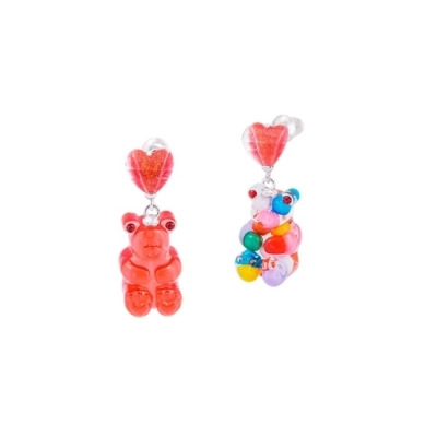[믹시마이]GUMMY BEAR HEART DROP EARRINGS _MULTI VIVID, RED