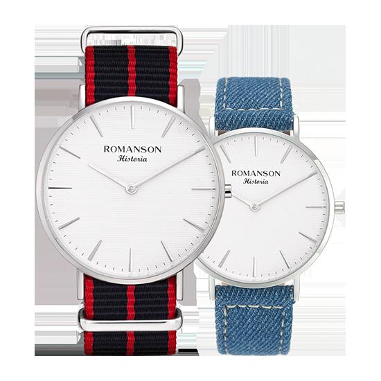로만손 남성 나토밴드 시계 (데님밴드 추가증정) (RWTLBM6A3000WHSI0)