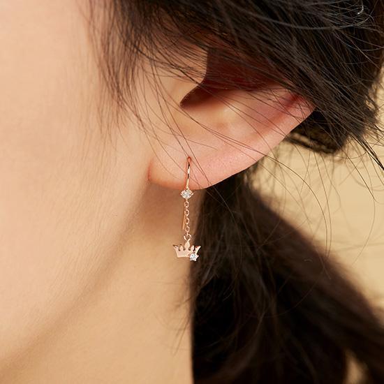 Basic Tiara 귀걸이(14K) (JJT1EQ8AS033R4000)