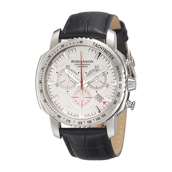 로만손 액티브 크로노그래프 남성 가죽 시계 (RWALPM7A3202WHSI0)
