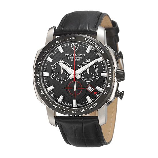 로만손 액티브 크로노그래프 남성 가죽 시계 (RWALPM7A3202CDBK0)
