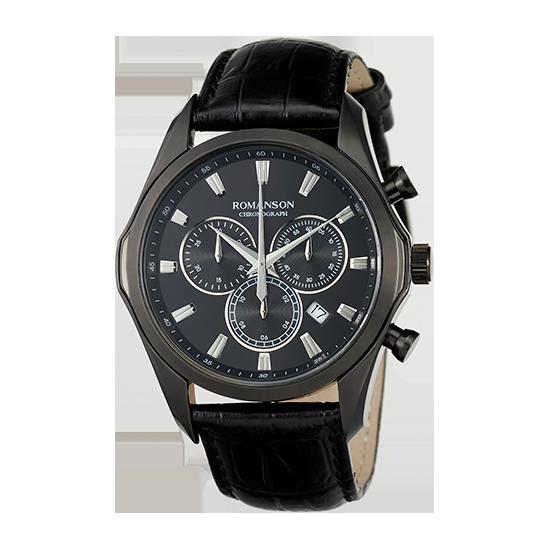 [라스트피스] 로만손 남성 크로노그래프 가죽 시계 (RWTLHM6A3500BKBK0)