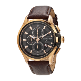 로만손 프리미어 남성 크로노그래프 가죽 시계 (RWPBHM7A3234CTBK0)