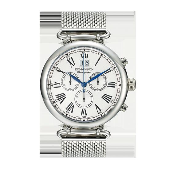 로만손 남성 크로노그래프 메탈 시계