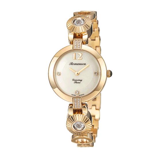 로만손 여성 댄싱스톤 메탈 시계 (RWRMQL8A0500GOWH0)