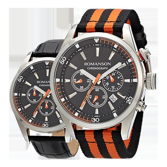[라스트피스] 로만손 남성 크로노그래프 나토밴드 시계 가죽밴드 추가증정 (RWTLHM004246WHBK0)