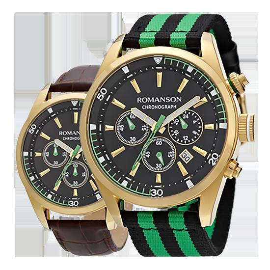 [라스트피스] 로만손 남성 크로노그래프 나토밴드 시계 가죽밴드 추가증정 (RWTLHM004246GOBK0)