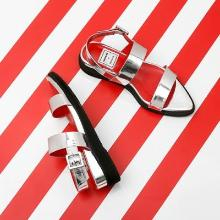 J.ESTINA RED×RACHEL COX_Point Toe Silver Strap Sandal Silver