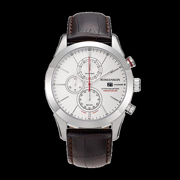 로만손 액티브 크로노그래프 남성 가죽 시계 (RWALHM6A0700WHWH0)