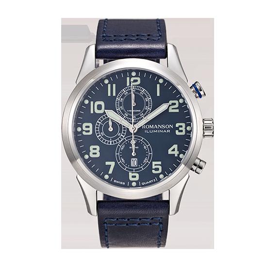 로만손 액티브 크로노그래프 남성 가죽 시계 (RWALHM6A1400WHBL0)