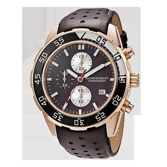 로만손 남성 크로노그래프 가죽 시계 (RWTLHM004245RGBR0)