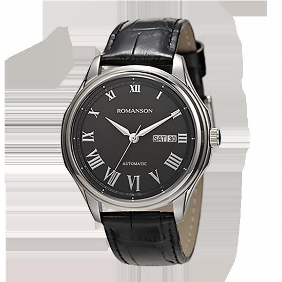 로만손 남성 오토매틱 가죽 시계 (RWTLRM003222WHBK0)