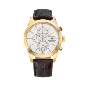 로만손 액티브 크로노그래프 남성 가죽 시계 (RWALHM6A0700GOWH0)