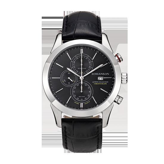 로만손 액티브 크로노그래프 남성 가죽 시계 (RWALHM6A0700WHBK0)