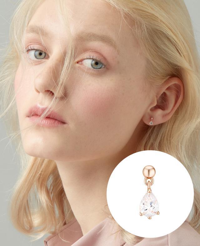 [CONTE] Pear Dew 외짝 귀걸이 (14K) (JJCEEQ0BS910R4P00)