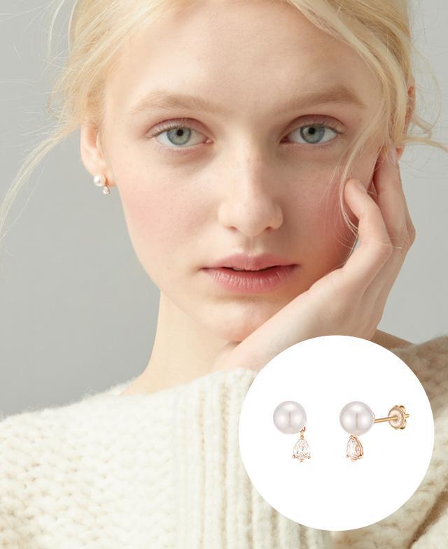 [CONTE] Pear Pearl 귀걸이(14K) (JJCEEI0BS907R4000)