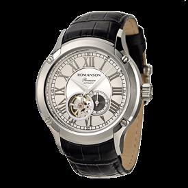 로만손 프리미어 남성 오토매틱 가죽 시계 (RWPBRM002609WHSI0)