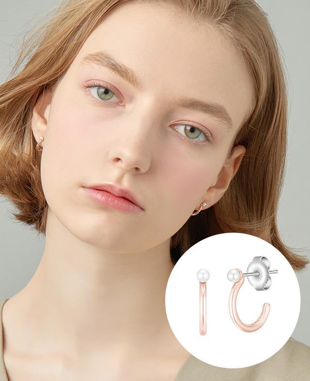 [CONTE] Basic Pearl Hoop 귀걸이 (JJCEEI0BS950SR000)