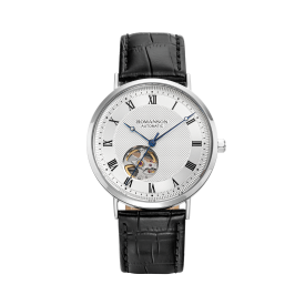 [로만손] 남성 오픈하트 오토메틱 가죽 시계 (RWTLRM1B2400WHSI0)