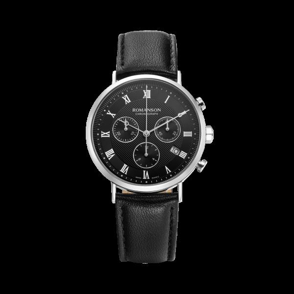 [로만손] 남성 크로노그래프 가죽 시계 (RWTLHM1B2400WHBK0)