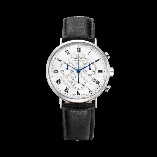 [로만손] 남성 크로노그래프 가죽 시계 (RWTLHM1B2400WHSI0)