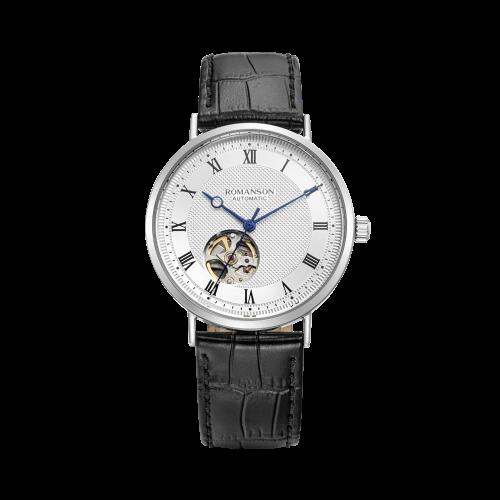 [로만손] 남성 오픈하트 오토메틱 가죽 시계 (RWTLRM1B2400WHSI2)